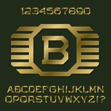 Golden angular letters and numbers with initial monogram. In winged frame. Beautiful presentable font kit for logo design stock illustration