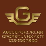 Golden angular letters and numbers with initial monogram Stock Image