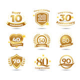 Golden Anniversary happy holiday festive celebration emblems set with ribbons isolated vector illustration. White background. Golden Anniversary happy holiday Stock Photography