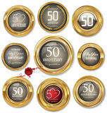 Golden anniversary labels,50 years. Illustration Stock Photos