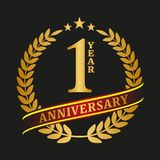 Golden anniversary logo celebration. On black background. Vector illustration Royalty Free Stock Photo