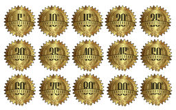 Golden Anniversary Seal Label Badge Set Royalty Free Stock Photography