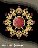 Golden antiquarian jewel in art deco style, filigree gold brooch with red gems ruby or garnet, fashion in victorian. Style, antique gold jewelry, vector EPS 10 Stock Photos