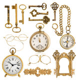 Golden antique accessories. vintage keys, clock, compass, glasses, pocket watch, frame. Collection of golden antique accessories. vintage keys, clock, compass stock images