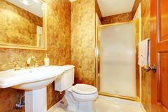 Golden antique bathroom with white Royalty Free Stock Photo