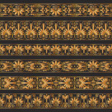 Golden antique borders on the dark brown background. Set collections of old greek ornaments. Golden antique borders on the dark brown background. Ethnic Stock Photos