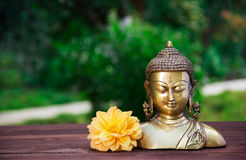 Golden antique Buddha statue on a blurred green background. Buddha and flowers. Concept religion. Copy space. Golden antique Buddha statue on a blurred green Royalty Free Stock Photo