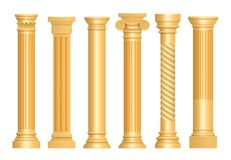 Golden antique column. Classic roman pillars architectural art sculpture pedestal vector realistic stock illustration