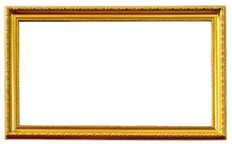 Golden antique frame isolated Stock Image