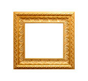 Golden antique frame isolated on white Royalty Free Stock Photo
