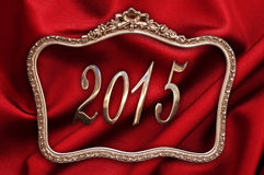 Golden 2015 in an antique frame Royalty Free Stock Photos