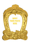 Golden antique photo frame Royalty Free Stock Photography