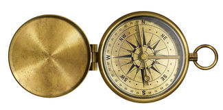 Golden antique pocket compass with lid isolated. On white royalty free stock photos