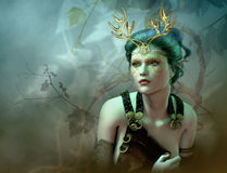 The Golden Antlers Portrait, 3d CG Stock Photo