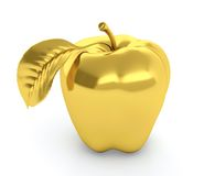 Golden apple. 3D illustration of golden apple  on white background Royalty Free Stock Photos