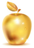 Golden apple with drop of dew Stock Images