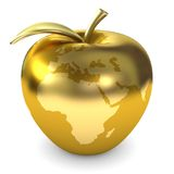Golden apple earth. Golden apple with earth map Royalty Free Stock Photography