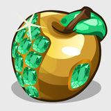 Golden apple with emerald stones, vector symbol Stock Photos