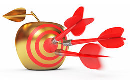 Golden Apple. Game of darts. Hit the bull's-eye. Golden Apple. Game of darts. Dart Hitting A Target. White background. 3d render Royalty Free Stock Images
