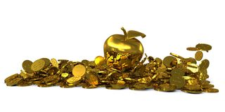 Golden Apple on the golden dollar coins Stock Photo