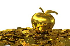 Golden Apple on the golden dollar coins Stock Image