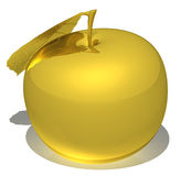The golden apple  isolated on white background. 3d rendering - the golden apple isolated on white background Stock Photography