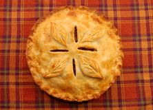 Golden apple pie. On plaid tablecloth Stock Photography