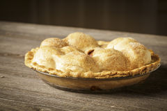 Golden Apple Pie on Rustic Barnwood Stock Photo