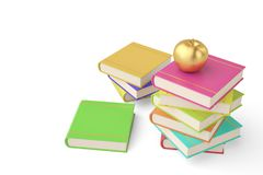 Golden apple on pile of book isolated on white background.3D ill vector illustration