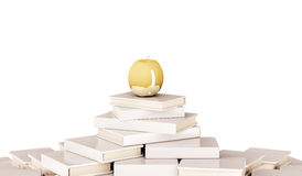 Golden apple on pile of book, isolated on white background, 3d rendered Stock Images