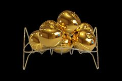 Golden apples on a chrome basket black background. 3D illustration of Golden apples on a chrome basket black background royalty free illustration