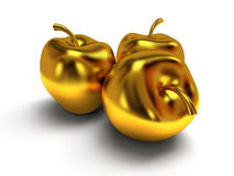golden apples. 3d render Royalty Free Stock Photos