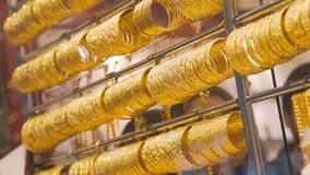 Golden Arab market in the UAE. gold market. stock footage