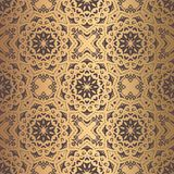 Golden Arabesque Pattern. Vector arabesque pattern. Seamless flourish mandala background with golden floral elements. Intricate ornate lines. Arabic decorative Royalty Free Stock Images