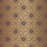 Golden Arabesque Pattern. Vector arabesque pattern. Seamless flourish background with golden floral elements. Intricate ornate lines. Arabic decorative design Stock Image