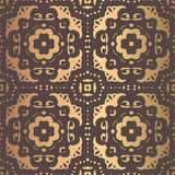 Golden Arabesque Pattern. Vector arabesque pattern. Seamless flourish background with golden floral elements. Intricate ornate lines. Arabic decorative design Royalty Free Stock Photography