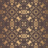 Golden Arabesque Pattern. Vector arabesque pattern. Seamless flourish background with golden floral elements. Intricate ornate lines. Arabic decorative design Stock Images
