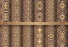 Golden Arabesque Patterns. Vector arabesque patterns. Seamless flourish backgrounds. Golden abstract flower floral design elements. Intricate ornate lines royalty free illustration