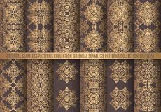 Golden Arabesque Patterns. Vector arabesque patterns. Seamless flourish backgrounds. Golden abstract flower and floral design elements. Intricate ornate lines royalty free illustration