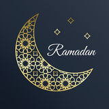 Golden Arabic ornamental moon with stars. Ramadan card. vector illustration