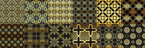 Golden arabic ornaments seamless pattern. Arabs fashion, geometric islamic ornament and gold ramadan frame patterns stock illustration