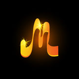 Golden arabic style letter m. Shiny latin alphabet element icon on black background. Oriental calligraphy design. Fiery Royalty Free Stock Images