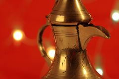 Golden arabic teapot Royalty Free Stock Image