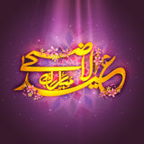 Golden Arabic text for Eid-Al-Adha celebration. Golden Arabic Islamic calligraphy of text Eid-Al-Adha with pink flowers in spotlight on floral design decorated Royalty Free Stock Photo