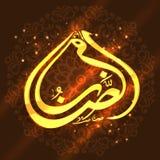 Golden Arabic text for Ramadan Kareem celebration. Golden Arabic Islamic calligraphy of text Ramadan Kareem on shiny floral design decorated brown background Royalty Free Stock Image
