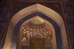 Golden arch in Tilya Kori Madrasah Royalty Free Stock Photos