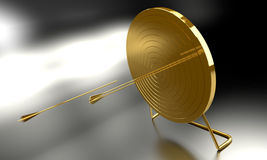 Golden Archery Target. Golden arrow hitting archery target computer generated image vector illustration