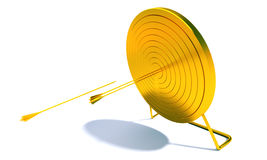 Golden Archery Target. Golden arrow hitting archery target computer generated image stock illustration
