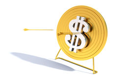 Golden Archery Target Dollar. Golden arrow hitting archery target computer generated image stock illustration