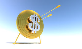 Golden Archery Target Dollar. Golden arrow hitting archery target computer generated image vector illustration